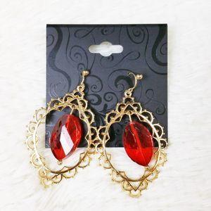 GNW Drop Dangle Earrings Red Boho Moroccan NEW